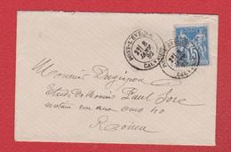Enveloppe / De Pont L'Evêque / Pour Rouen /  8 Janvier 1882 - Marcophilie (Lettres)