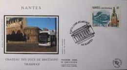 FR.- 2003 - Enveloppe FDC 1er Jour - Nantes - Le Tramway Au Château Des Ducs De Bretagne - Nantes Le 04.04.2003 - Tranvie