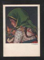 071528 RURAL Type ILLUMINATED GIRL By STRYJENSKA Old Poland PC - Illustratori & Fotografie