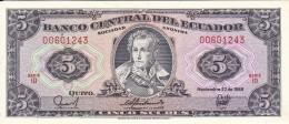 BILLETE DE ECUADOR DE 5 SUCRES DEL 22/11/1988 SIN CIRCULAR-UNCIRCULATED - Ecuador