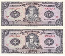 PAREJA CORRELATIVA DE ECUADOR DE 5 SUCRES DEL 22/11/1988 SIN CIRCULAR-UNCIRCULATED - Ecuador