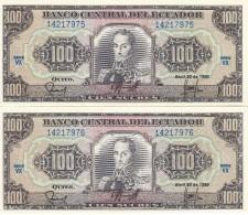 PAREJA CORRELATIVA DE ECUADOR DE 100 SUCRES DEL 20/04/1990 SIN CIRCULAR-UNCIRCULATED - Ecuador