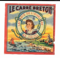 """Etiquette  """"LE CARRE BRETON""""  L.O.D. DONGES - LAITERIE DE L'OISELIERE -(LOIRE INFERIEURE) JEUNE FEMME ROUSSE /GARCIAU NA - Fromage"""