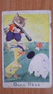 CAT AND DUCK HUNTING  - Mushroom / Champignon- 1940s - Easter - Champignons