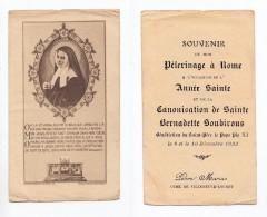 Souvenir De Pélerinage à Rome, Canonisation De Sainte Bernadette Soubirous, Pie XI, 1933, Villeneuve-Loubet Marius Pèbre - Devotion Images