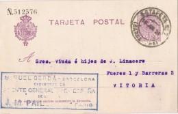 19214. Entero Postal BARCELONA  1924 A Vitoria. Fechador Estafeta 7