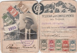 CARTE DE CLUB ALPIN CLUB ALMINO ITALIANO TESSERA DI RICONOSCIMENTO 1922-1925 - Sports