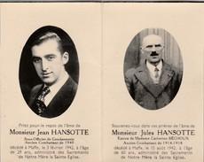 Mortuaire,Hansotte Jules(combattant 1914-1918)décédé MAFFE 1942,Hansotte Jean Sous-officier Gendarmerie,combattant 1940 - Obituary Notices