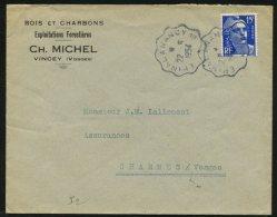 VOSGES: Enveloppe Avec 15F GANDON De VINCEY Oblt  CONVOYEUR Ligne EPINAL A NANCY 1° - Marcophilie (Lettres)