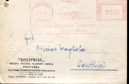 12894 ITALIA,  Red Meter Freistempel EMA, Affrancatrice Rossa, 1955 Pontebba Sitespress Società Trasp. Circuled Card - Poststempel - Freistempel