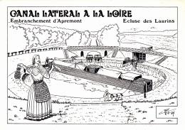CPM Canal Latéral à La Loire Ecluse Des Laurins Embranchement D' Apremont Péniche  Canal-Boat Barge Illustrateur - Houseboats