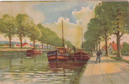 CPSM Non Située Canal Péniche Canal-Boat Barge Bateau Marinier Illustrateur - Houseboats