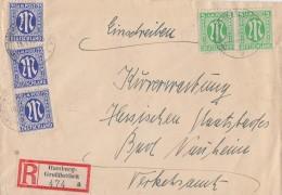 AM-Post R-Brief Mif Minr.2x 3, 3x 9 Hamburg 16.4.46 - Bizone