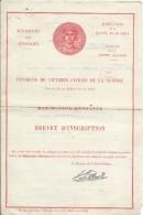 Ministére Des Finances/ Pensions De Victimes Civiles De La Guerre/Majoration D'Enfants/Brevet D'inscription/1954   BA39 - Documents