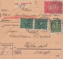 DR Paketkarte Mif Minr.187a,191,3x 193,195 Heidenau 11.7.22 Geprüft - Briefe U. Dokumente