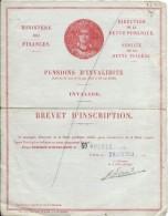 Ministére Des Finances/ Pensions D´Invalidité/Invalide/Brevet D´inscription/1950   BA42 - Documents