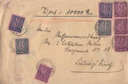 DR Wertbrief über 10000M Mif Minr.2x D682x D72,4x D73 Rottenburg - Dienstpost