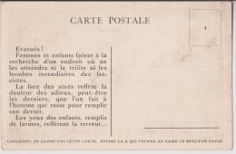 GUERRE : EVACUES FUYANT LES BOMBES INCENDIAIRES DES FASCHISTES - 2 SCANS - - Guerre 1914-18