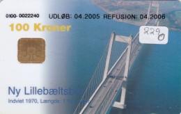 Denmark, DD 229Oa, Bridges, Lillebaeltsbroen, 20.000 Issued (for A + B), 2 Scans.  Oval Ø, UDLØB: 04.2005 - Dänemark