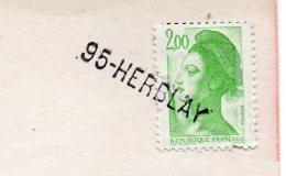 Cachet Manuel-Griffe Horizontale Ou Linéaire--95-HERBLAY--tp Liberté Sur Carte Postale Marianne-Timbres De France - Marcophilie (Lettres)