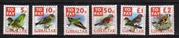 Gibraltar 2002 Postage Due Mi# 26-31 ** MNH - Birds - Gibraltar