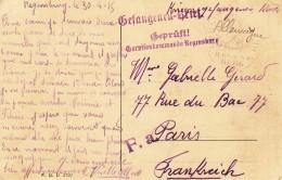 Carte D´un Prisonnier De Guerre De REGENSBURG Du 30.4.15 Avec Cachets De Censure - Guerre De 1914-18