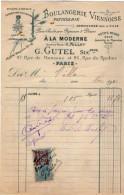 VP5469 - Facture - Boulangerie Viennoise Patisserie ¨A LA MODE¨ G.CUTEL à PARIS Rue De Monceau & Du Rocher - Alimentaire