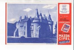 Buvard Publicitaire / Pile Mazda Cipel N° 21 Sibiril Château De Kérouzère - Electricité & Gaz
