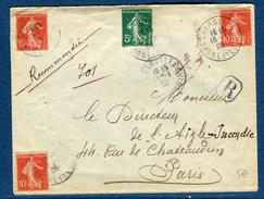 France - Enveloppe En Recommandée De Charolles Pour Paris En 1908 , Affranchissement Semeuses  Réf S 208 - Postmark Collection (Covers)