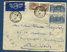 France - Enveloppe De Strasbourg Pour New York En 1947 Par Avion ( étiquette )    Réf S 223 - Postmark Collection (Covers)