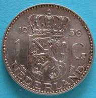 Paesi Bassi -  Olanda  1 Gulden 1956 - Silver  Argento - [ 8] Monete D'Oro E D'Argento