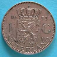 Paesi Bassi -  Olanda  1 Gulden 1955 - Silver  Argento - [ 8] Monete D'Oro E D'Argento