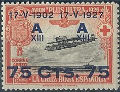 ES391STV-LFT***391STES.ANIVERSARIO.JURA   CONSTITUCION POR ALFONSO Xlll.Aereo. AVION PLUS ULTRA.1927 (Ed 391**)MAGNIFICO - Escudos De Armas
