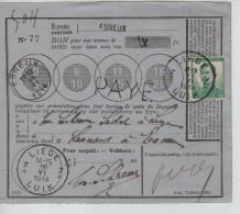 TP 121 S/Bon De Poste De 4 Fr Griffe Esneux + C.Esneux 15/6/1914 C.Liège 16&17/6/1914 PR3456 - Postmark Collection