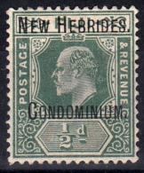 1908 BRITISH NEW HEBRIDES KEVII OVPTD ½d GREEN (SG# 1a) MNG - Ongebruikt