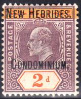 1908 BRITISH NEW HEBRIDES KEVII OVPTD 2d DULL PURPLE & ORANGE (SG# 5) MH - Ongebruikt