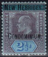 1908 BRITISH NEW HEBRIDES KEVII OVPTD 2½d DULL PURPLE & BLUE (SG# 6) MH - Ongebruikt