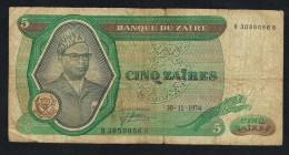 °°°   ZAÏRE  5  ZAÏRES 1974 - Zaïre