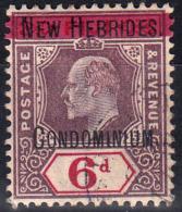 1908 BRITISH NEW HEBRIDES KEVII OVPTD 6d DULL PURPLE & CARMINE (SG# 8) FINE USED - Ongebruikt