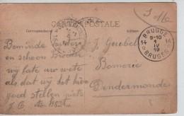 CP En Franchise SM C.Fortune Brugge Agence 14 1/4/1919 V.Dendermonde C.d'arrivée PR3457 - Postmark Collection
