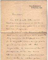 VP5479  - LAS - Lettre De Mr Eugène BRIEUX De L´Académie Française - Villa Blanchette à SAINT RAPHAEL ( Var) - Autographs
