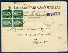 France - Enveloppe Commerciale De Outreau Pour Paris En 1928  Type Pasteur En Bloc De 4  Réf S 257 - Marcophilie (Lettres)