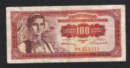 °°° JOEGOSLAVIE  100 DINARA  1955 - Yougoslavie