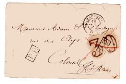 Guerre De 1870. Oblitération Garde Impériale 1ère Division. Taxe 30 Double Trait Annulée Par Le P.P. - Postmark Collection (Covers)