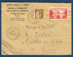 France - Enveloppe Du Centre De Jeunesse De Lizy Sur Ourcq En 1942 Pour Courlon Sur Yonne   Réf S 271 - Postmark Collection (Covers)