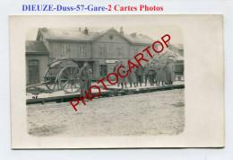 Gare-DIEUZE-DUSS-Chargement Sur Train-Bagages-2x CARTES PHOTOS Allemandes-Guerre 14-18-1 WK-France-57-Militaria- - Dieuze