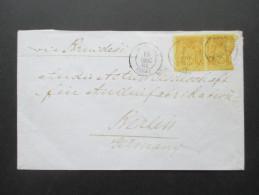 China / Französische Post 1884 Shanghai Via Brindisi Nach Berlin! Französiche Marken Verwendet! Seltener Beleg!! - Chine