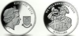 KIRIBATI ISLANDS $10 WWI MAN SOLDER  FRONT QEII HEAD BACK 2012 AG SILVER BUNC 1 YEAR  READ DESCRIPTION CAREFULLY!!! - Kiribati