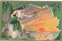 Shamrock On Erin's Isle - Angel Ireland - Tuck Series 157 Emerald Isle - Embossed - VG Condition - 2 Scans - Holidays & Celebrations