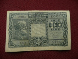 ITALIE Billet De 10  Lire Du Trésor 23/09/1944 - [ 5] Schatzamt